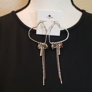 Jewelry - Silver hearts earrings with dangling charms
